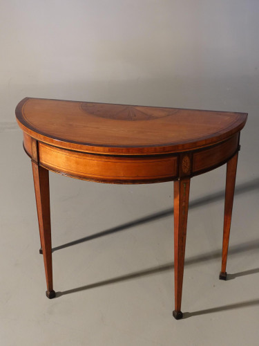 A Fine George III Period Satinwood Demilune Card Table