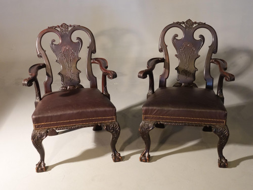 A Pair of Finely Carved Early 20th Century Mahogany Armchairs