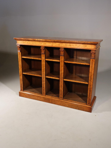 A Sophisticated Mid 19th Century Walnut Dwarf Open Bookcase
