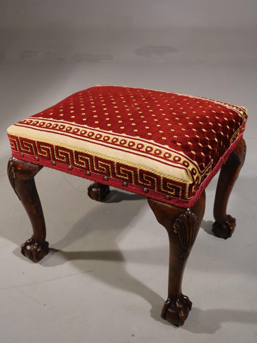 A Very Fine Quality, 18th Century Style, Silk Covered Stool