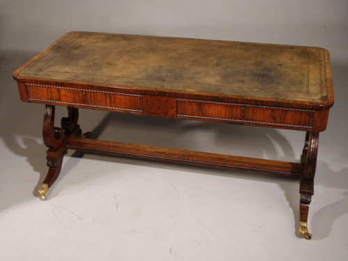 A Fine Quality, Regency Period, Rosewood End Support Library Table
