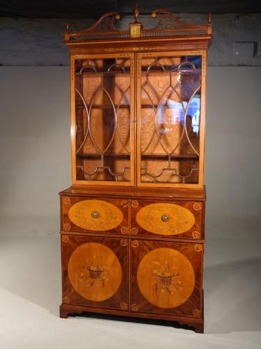 A Quite Outstanding George III Period Sheraton Secretaire Bookcase