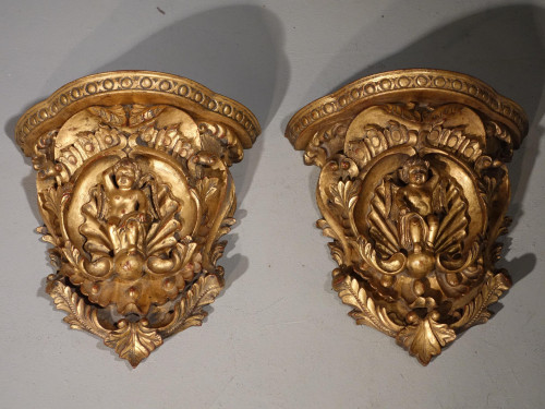 A Late 19th Century Pair of Italian Giltwood Wall Brackets