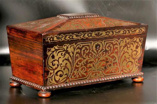 An Exceptional Regency Period Brass Inlaid Tea Caddy