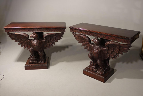 A Large Pair of Well Carved Early 20th Century Console Tables