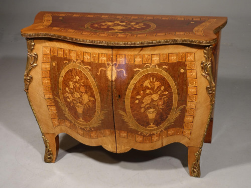 A Mid 19th French Bombe Kingwood and Marquetry Serpentine Commode
