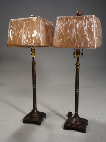 A Pair of Modern Bronze Slender Base Column Lamps