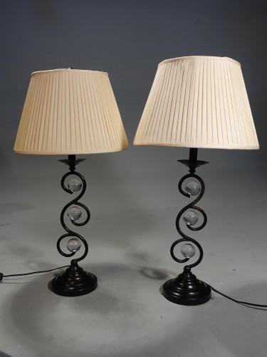 A Unusual Pair of Modern Metal and Crystal Writhen Slender Lamps