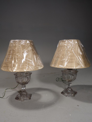 A Shapely Pair of Early 20th Century Glass Lamps