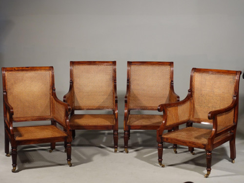 A Very Fine Set of 4 Regency Period Mahogany Bergère Chairs