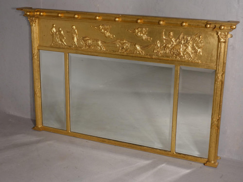 A Very Good Regency Period 3 Section Giltwood Mirror