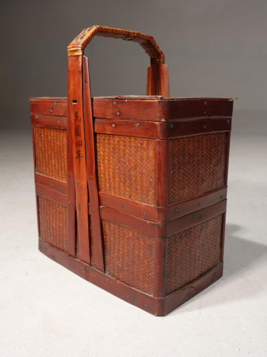 An Early 20th Century Chinese Rattan, Tiffin Food Holder