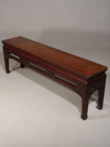A Long, Finely Carved, Mid 19th Century Elm Stool