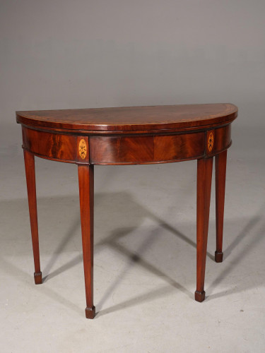 A Fine Quality George III Period Demilune Card Table