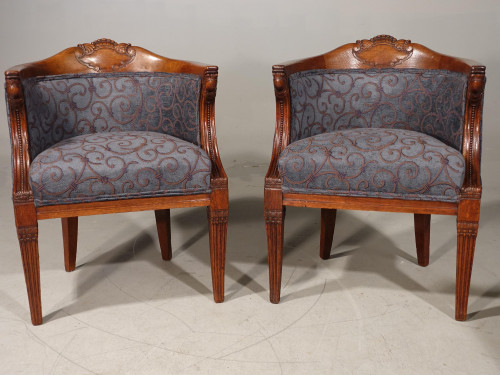Pair of 19th Century Oak Framed Library or Desk Chairs