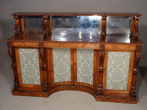 An Exceptional William IV Period Walnut and Burr Walnut Side Cabinet