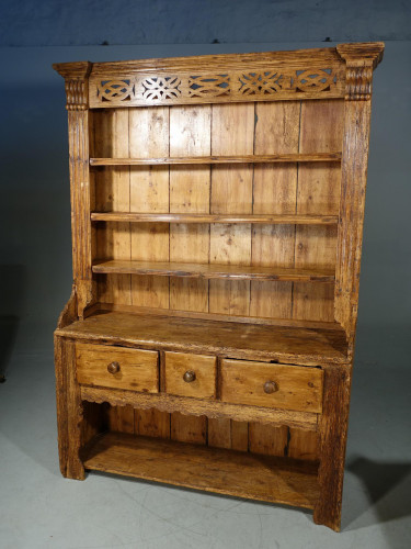 A Primitive, French, Mid 19th Century, Pine Dresser and Rack