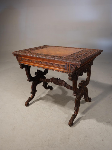 A Finely Carved Mid 19th Century End Support Chest Table