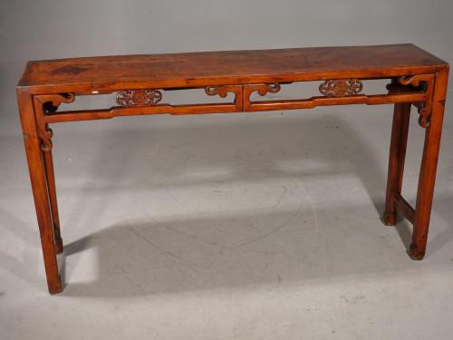 A Slender Late 19th Oriental Elm Hall Table