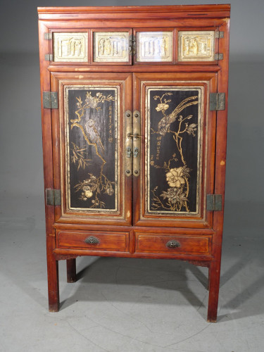 A Fine and Original Late 19th Century Lacquered Wedding or Marriage Cabinet