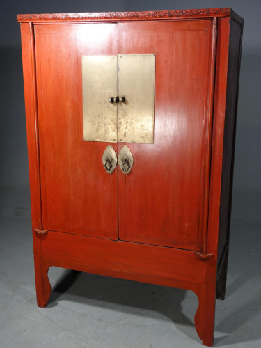 An Original Late 19th Red Lacquer Chinese Wedding Cabinet