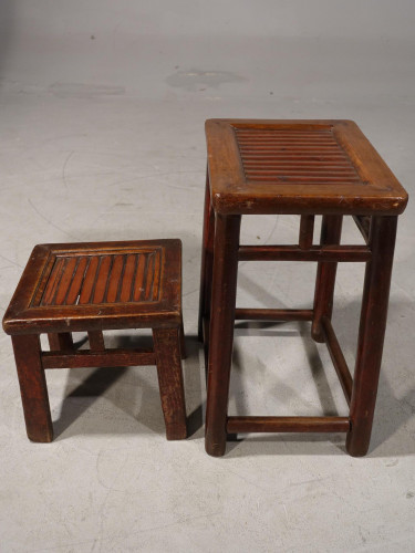 A Pair of Similar Late 19th Century Chinese Hardwood Stools