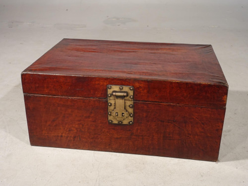 A Large Early 20th Century Leather Covered Travel Trunk