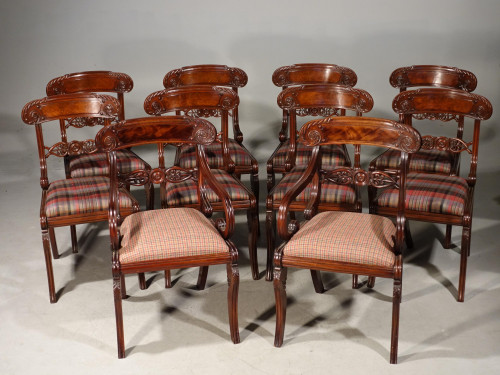 An Exceptional Set of 10 (8+2) Mahogany Framed Chairs