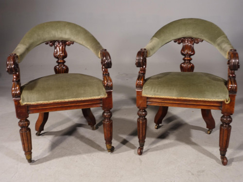 A Pair of William IV Desk or Library Chairs