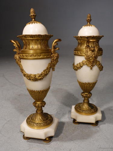 A Good and Original Pair of White Marble and Ormolu Cassoulet Vases