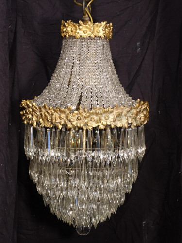 A Fine and Unusual Pair of Early 20th Century Crystal and Gilt Bronze Chandeliers