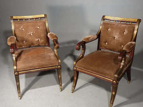 An Elegant Pair of Regency Style Faux Rosewood Parcel Gilt Chairs